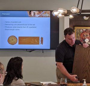 Jeff Rose explains how cut affects hardwood flooring at a CEU course