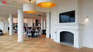 Engineered wood flooring shown in a restaurant