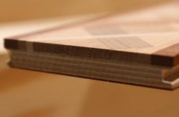 Example shows the layers in engineered wood flooring